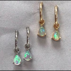 Petite Opal Teardrop Charm 1/2 Hoop Earrings,NWT